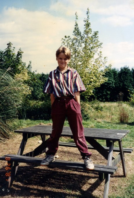 beau on a bench 7yrs old circa