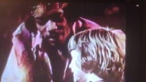 Jimi talks to Charey onstage film still